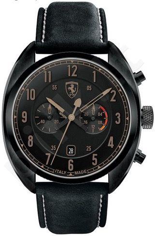 Laikrodis SCUDERIA FERRARI FORMULA ITALIA chronometras vyriškas BLACK IP oda STRAP kvarcinis TANG BUCKLE CLOSURE WR 50mt LIMITED EDITION MADE IN ITALY