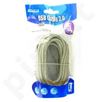 4World Kabelis USB 2.0 , tipas A-B M/M 5m, juodas