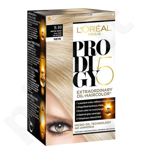 L´Oreal Paris Prodigy 5, plaukų dažai kosmetika moterims, 1vnt, (10.21 Porcelain)