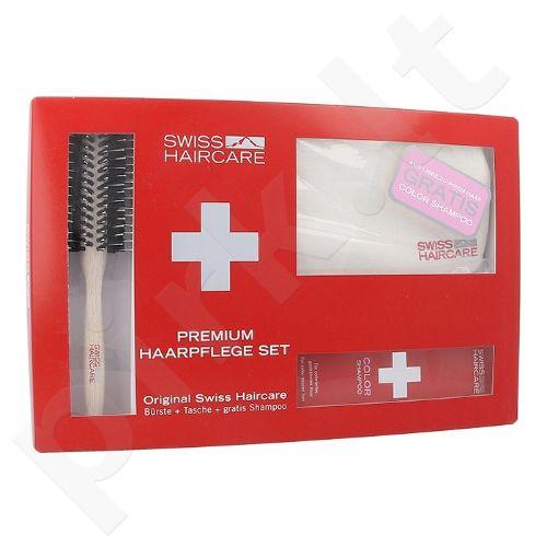 Swiss Haircare Premium plaukų priežiūros rinkinys moterims, (apvalus šepetys + krepšys + 200ml dažytų plaukų šampūnas)
