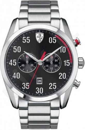 Laikrodis SCUDERIA FERRARI D50 chronometras vyriškas MINERAL GLASS S /S apyrankė kvarcinis WR 50mt 44mm