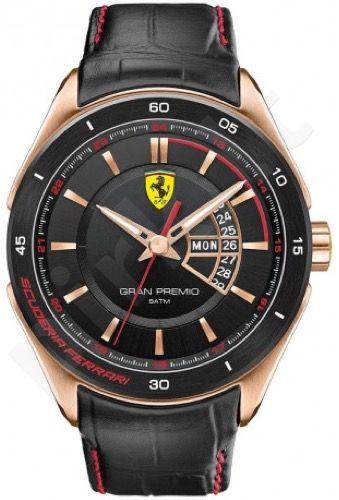 Laikrodis SCUDERIA FERRARI GRAN PREMIO vyriškas PVD ROSE GOLD oda STRAP kvarcinis WR 50mt 45mm