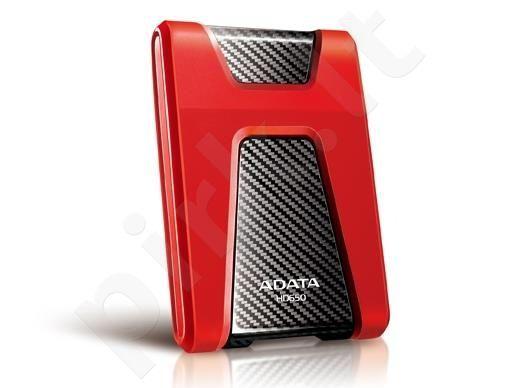 Išorinis diskas Adata Durable HD650 1TB USB3 Raudonas, Atsparus smūgiams