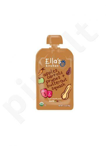Ekologiška moliūgų, morkų, obuolių ir slyvų tyrelė kūdikiams nuo 4 mėnesių ELLA'S KITCHEN, 120 g