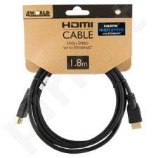 4World Kabelis HDMI - HDMI Greita sparta su Ethernet (v1.4), 3D, HQ, BLK, 1.8m