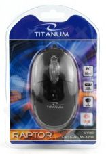 Optinė pelė Titanum TM102K USB RAPTOR 3D |1000 DPI | Juoda| Blisteris