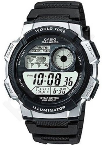 Laikrodis CASIO AE-1000W-1A2 WORLD TIME Day . wr 100. chronografas. timer **ORIGINAL BOX**