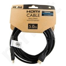 4World Kabelis HDMI - HDMI Greita sparta su Ethernet (v1.4), 3D, HQ, BLK, 5m