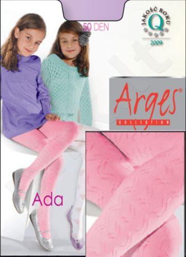 Raštuotos pėdkelnės mergaitėms ADA 50 denų storio iš mikrofibros (juoda)