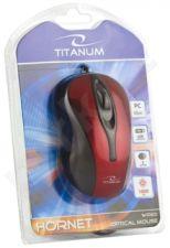Optinė pelė Titanum TM103R Hornet USB 3D| 1000 DPI |Raudona| Blisteris