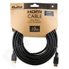 4World Kabelis HDMI - HDMI Greita sparta su Ethernet (v1.4), 3D, HQ, BLK, 10m