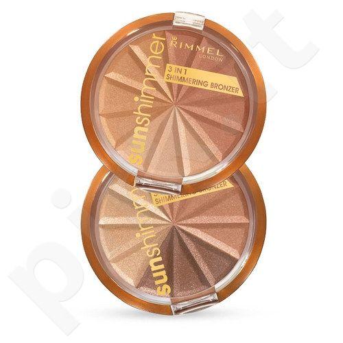Rimmel London Sun Shimmer 3in1 švytėjimo veidui suteikianti  pudra, kosmetika moterims, 9,9g, (001 Gold Princess)