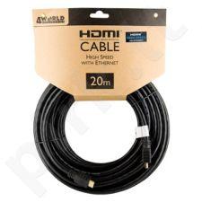4World Kabelis HDMI - HDMI Greita sparta su Ethernet (v1.4), 3D, HQ, BLK, 20m