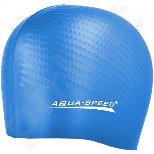 Maudymosi kepuraitė  Aqua-Speed silikonowy Biomassage New 01 mėlynas