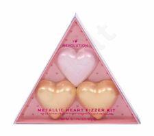 Makeup Revolution London Metallic Heart Fizzer, I Heart Revolution, rinkinys vonios putos moterims, (Heart Fizzer 1 x 40 g + Heart Fizzer 2 x 40 g Shea Butter), (Rose)