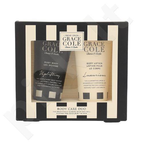 Grace Cole Fresh Linen kūno priežiūros rinkinys moterims, (įkvepianti dušo želė 50 ml + prabangus kūno losjonas 50 ml)