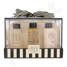 Grace Cole Fresh Linen Bath kūno priežiūros rinkinys moterims, (vonios putos atpalaiduojančios 100 ml + dušo želė įkvepianti 100 ml + kūno losjonas prabangus 100 ml + kosmetikos krepšys)