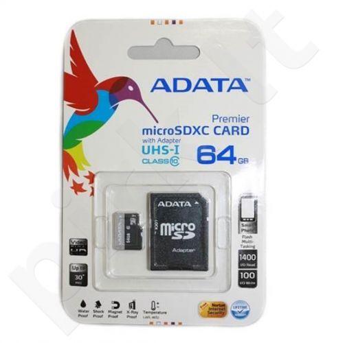 Atminties kortelė Adata Premier microSDXC UHS1 64GB + Adapter