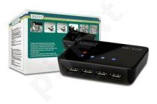 DIGITUS Network USB šakotuvas 4x USB 2.0, 1x RJ45, 10/100 Mbps