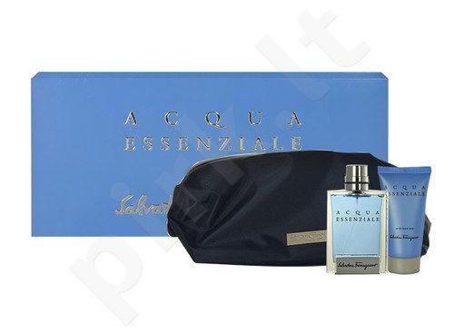 Salvatore Ferragamo Acqua Essenziale rinkinys vyrams, (EDT 100ml + losjonas po skutimosi 50 ml + kosmetikos krepšys)