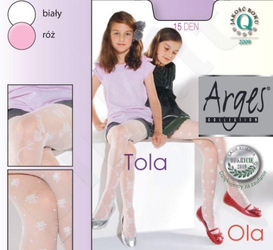 Raštuotos pėdkelnės mergaitėms iš elastano TOLA 15 denų storio (balta)