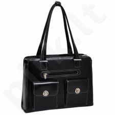 MCKLEIN Verona  išskirtinė juoda rankinė iš natūralios odos , moteriška nešiojamam kompiuteriui 15,4