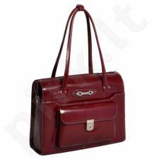 MCKLEIN Wenonah 96666 raudona  išskirtinė iš natūralios odos rankinė , moteriška nešiojamam kompiuteriui 15,4