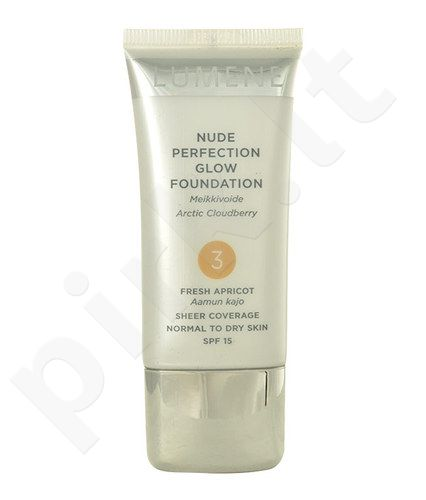 Lumene Nude Perfection Glow Foundation SPF15, kosmetika moterims, 30ml, (3 Fresh Apricot)