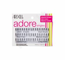 Ardell Singles, Adore, rinkinys dirbtinės blakstienos moterims, (Bunch Algae 16 pcs Short Black + Bunch Algae 16 pcs Medium Black + Bunch Algae 16 pcs Long Black + Algae Adhesive 0,6 ml)