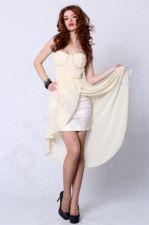 4207-1 Suknelė ilga kreminė
