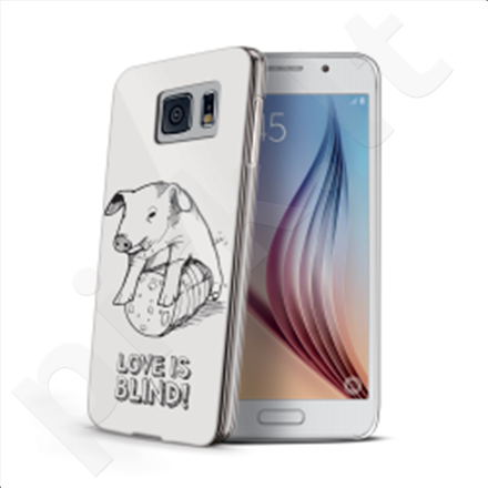 Celly Cover  LOVE IS BLIND for Samsung Galaxy S6 (Pig) / Hard cover with transparent edges