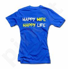 """Moteriški marškinėliai """"Happy wife"""""""