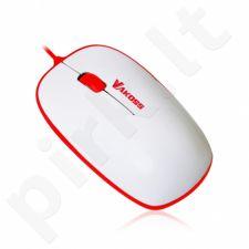 Laidinis optinė pelė Vakoss  TM-426WR, 3D, 1000 dpi, Balta-raudona, lizdinė