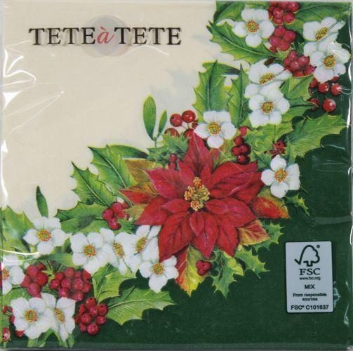 Servetėlės Tat Bn Wreath With Poinsettia Green