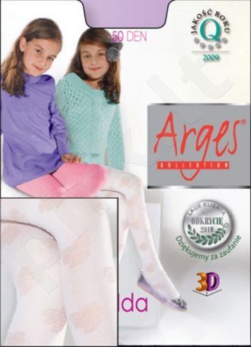 Raštuotos pėdkelnės mergaitėms IDA 50 denų storio iš mikrofibros (rožinė)