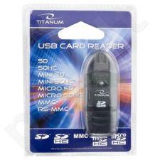 Kortelių skaitytuvas Titanum SDHC/MiniSDHC/MicroSDHC/RS/MM TA101K Juodas USB2.0