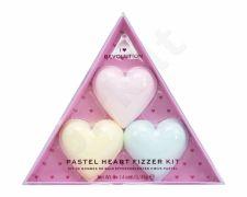 Makeup Revolution London Pastel Heart Fizzer, I Heart Revolution, rinkinys vonios putos moterims, (Heart Bath Fizzer 40 g + Heart Bath Fizzer 40 g Passion Fruit + Heart Bath Fizzer 40 g Lemon), (Strawberry)