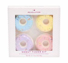 Makeup Revolution London Donut Fizzer, I Heart Revolution, rinkinys vonios putos moterims, (Donut Bath Fizzer 40 g + Donut Bath Fizzer 40 g Lavender + Donut Bath Fizzer 40 g Banana + Donut Bath Fizzer 40 g Strawberry), (Blueberry)