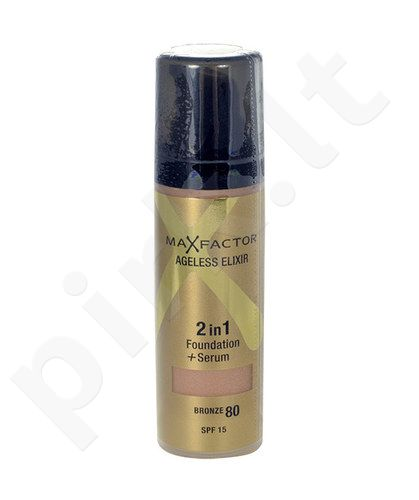 Max Factor Agelisess Elixir 2v1 Foundation + serumas SPF15, kosmetika moterims, 30ml, (80 Bronze)