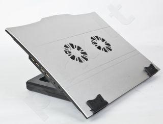 Gembird neš. kompiuterio aušinimo stovas, 2 vent. HUB USB, pasvirimo reguliacija