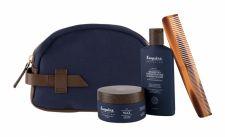 Farouk Systems The 3-In-1, Esquire Grooming, rinkinys šampūnas vyrams, (dušo želė 3in1 89 ml + plaukų Wax 85 g + Classic Travel Dual Comb 1 pc + kosmetika krepšys)