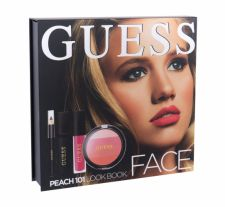 GUESS Look Book, rinkinys skaistalai moterims, (skaistalai 14 g + Lip Shine Matte 4 ml + blakstienų tušas Black 4 ml + Eye Pen Black 0,5 g + Mirror), (101 Peach)