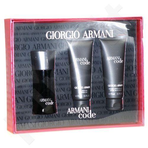 Giorgio Armani (EDT 50 ml + 75 ml balzamas po skutimosi + 75 ml dušo želė) Black Code, rinkinys vyrams