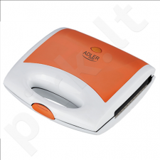 Adler AD 3021 Waffle maker, Non-stick coated plates, Ready indicator, Orange