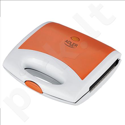 Adler AD 3021 Waffle maker, Non-stick coated plates, Ready indicator, Orange