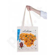 Medžiaginis maišelis su Lietuvos žemėlapiu