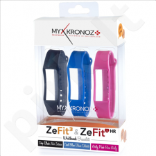 MyKronoz Wristbands Bracelets - 3 Colors Pack  KRZF3PACK3-CLASSIC Black, Blue, Pink
