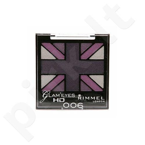 Akių šešėliai Rimmel London Glam Eyes HD Quad akių šešėliai, 2,5g, (Shade 008 True Union Jack)