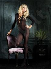 Sheer Long Sleeved Bodystocking V neck