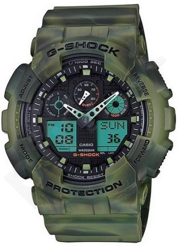 Laikrodis CASIO G-SHOCK GA-100MM-3ADR CAMO MARBLE Limited Edition Shock & Magnetic resistant Auto led World time 29 zon 4 daily s Snooze Hourly Time Signal Countdown Timer Full auto-calendar